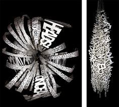 """Ebon Heath's """"tipographic art""""  He has transformed the alphabet in art and now, into a brilliant jewellery line. His objective is always the same: listen with your eyes, and see the beat in the leather-cut letters that dance before you."""