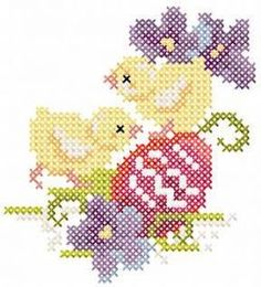 Easter two Chickens cross stitch free embroidery design. Machine embroidery design. www.embroideres.com