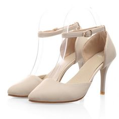 Fashion Pointed Toe Closed Stiletto High Heel Ankle Strap Beige PU Pumps
