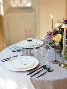 Photography : Love by Serena   Event Planning : East Made Event Company   Venue : The Branch Museum of Architecture and Design  Purple tablescape marble plates black flatware Cutipol Read More on SMP: http://www.stylemepretty.com/little-black-book-blog/2016/07/19/ballerina-dreams-inspired-wedding-shoot/