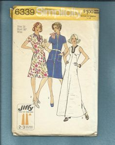 1974 Simplicity 6339 Evening or Day Length Dresses by MrsWooster