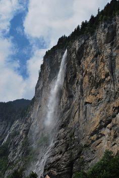 Lauterbrunnen waterfall in the Swiss Alps.