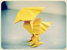 Chocobo Origami - yes! Origami Duck, Origami Bird, Origami Heart, Oragami, Origami Paper, Origami Box Tutorial, Origami Instructions, Origami For Kids Animals, Animals For Kids