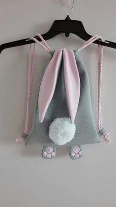 gray and pink cute bunny bag