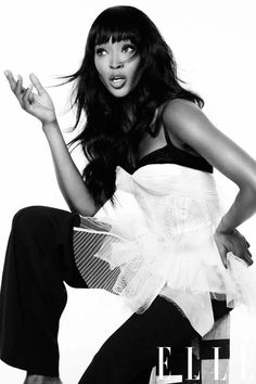 Naomi Campbell in Zac Posen photographed by Thomas Whiteside for Elle US, February 2013.