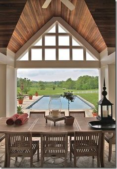 Pool house- I like the different tones of wood on the ceiling