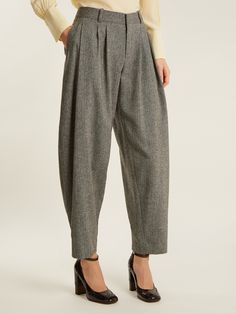 Click here to buy Chloé Wide tapered-leg wool-blend herringbone trousers at MATCHESFASHION.COM