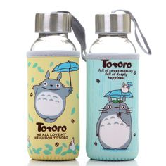 Encantador Totoro tazas de consumición 300 ml de dibujos animados café té taza transparente tapa de vidrio sello de agua taza portable anime envío gratis