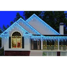 300-Count 9ft Icicle Christmas Lights, Blue, white string