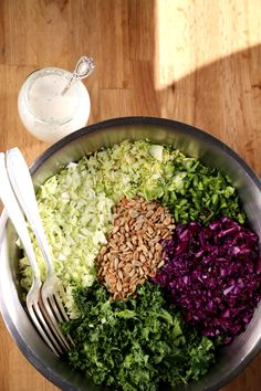 Cruciferous Confetti Slaw with Sunflower Seeds & Feta Dressing