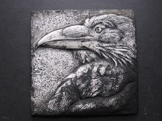 Dramatic Bas Relief Wallsculpture Nature Gift Black and White Art Bird Crows by SculptureGeek on Etsy Animal Sculptures, Lion Sculpture, Common Crow, Crow Call, Raven Bird, Ceramic Fish, Crows Ravens, Tile Art, Art Museum