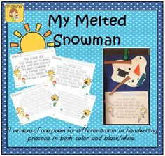 FREE Handwriting Practice Poem - 4 Trace/Copy options for differentiation!