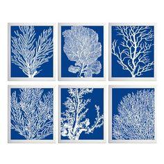 Blue Coral Ocean Beach Sea Prints Royal Blue White by ZeppiP... - Polyvore