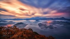 Autumn Morning by Dyne999  sky sunrise fog morning lake water light clouds tree mountain korea sea of clouds jaewoon u Autumn M