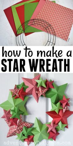 How to make a star wreath with paper! An inexpensive DIY wreath that's fun for Christmas! How to make a star wreath with paper! An inexpensive DIY wreath that's fun for Christmas! 3d Christmas, Christmas Origami, Simple Christmas, Christmas Wreaths, Paper Christmas Decorations, Christmas Paper Crafts, Holiday Crafts, Navidad Simple, Navidad Diy
