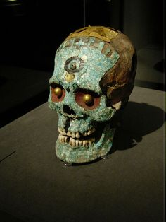 Old mayan skull with ornaments [ MexicanConnexionforTile.com ] #culture #Talavera #Mexican
