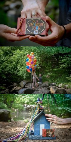 "This Up-inspired marriage proposal is beyond sweet! He even included their personal ""adventure book"" and balloons."