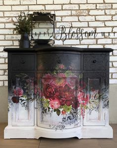 Beauty Evolves From Darkness Repurposed Furniture Beauty Darkness Evolves Black Painted Furniture, Floral Furniture, Decoupage Furniture, Funky Furniture, Refurbished Furniture, Paint Furniture, Repurposed Furniture, Shabby Chic Furniture, Furniture Makeover
