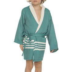 20225b74823a3 KID   CHILD BATHROBE KREM SULTAN WITH NATURAL THIN TERRY LINING - FANFARE  GREEN The bathrobes is made of 100% cotton. Also for kids it is very  lightweight ...