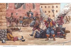 Troops sacking a town during the 30 Years war