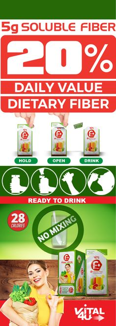 Get 20% of your daily fiber needs in a ready to drink pouch that goes anywhere you go. Tastes great and needs no mixing The Vital 4U Fiber Drink is a delicious way to supplement your daily fiber needs. Follow this to learn more about Vital 4U Fiber and how it can make a difference in your daily fiber intake.