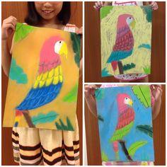 Parrot in chalk pastels