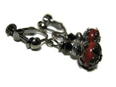 Screw Back Earrings Dark Red and Black Gunmetal by SharkysWaters