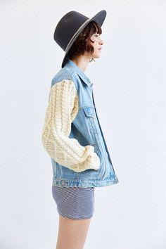 UNIF X UO Sweater-Sleeve Denim Jacket