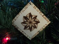 Solid Maple Wood Woodburned Abstract Pinwheel Flower Christmas Ornament