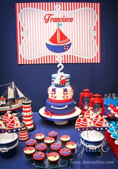 Encontrando Ideias: Festa Marinheiro!!! Nautical Mickey, Nautical Cake, Nautical Party, Baby Shower Decorations For Boys, Baby Shower Themes, Baby Boy Shower, Baby Boy 1st Birthday, Mickey Birthday, Cruise Theme Parties