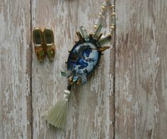 Blue Unicorn Crystal Cameo Queen Crown Jewels by AmbientAtelier Tassel Necklace Celtic Goddess Renaissance Gypsy