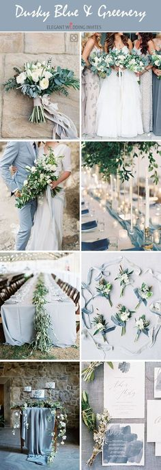 dusky blues neutral shades organic wedding color palette ideas for all seasons #weddingthemes #weddingideas
