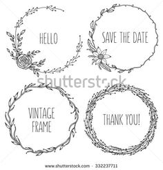 Illustration of Vector vintage wreaths. Collection of trendy cute floral frames. Graphic design elements for wedding cards, prints, decoration, greeting cards. vector art, clipart and stock vectors. Floral Frames, Vintage Wreath, Wreath Drawing, Free Hand Drawing, Vintage Frames, Vintage Fonts, Vintage Graphic, Clipart, Embroidery Patterns