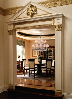 interiors - door trim with fluted columns and corinthian capitald - pediment - gorgeous dining room in Baca Raton, FL