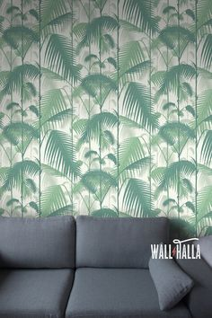 Seamless Self Adhesive Jungle Palm Pattern Wallpaper - Removable Vintage Wall Decals - Jungle Palm Wall Stickers - Temporary Wallpapers