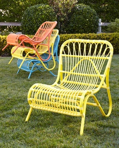 """Scoop Side Chair Powder-coated aluminum frame with resin-weave seat. 24""""W x 28""""D x 31""""T; seat, 14""""T."""