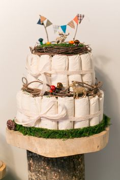 A Modern, Woodland Themed Baby Shower - I don't normally like diaper cakes but this one is great :D