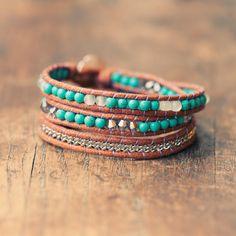 Bohemian Bracelet Wrap - Turquoise Boho Jewelry - Handmade Artisan Jewelry. $48.00, via Etsy.