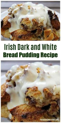 Celebrate St Patrick s Day in style with this Irish Dark and White Bread Pudding Recipe The chocolatey sauce is incredible made with white and dark chocolate you can also use Irish Cream It s a delicious gooey dessert perfect for an Irish dinner party Irish Desserts, Köstliche Desserts, Asian Desserts, Irish Recipes, Delicious Desserts, Dessert Recipes, Yummy Food, Irish Meals, Uk Recipes