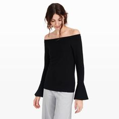 """Our Bethshiba top is made from a substantial viscose blend that's incredibly soft to the touch. With flared cuffs and a wide neckline that can be worn off the shoulder or on, it's the perfect match for your favorite pair of jeans. Viscose blend Straight, oversized fit 20½"""" in length, based on a size M Crew boatneck; long sleeves; flared cuffs Machine wash Imported"""