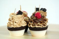 Handmade cupcake candles // Scented chocolate cupcakes // Decorated with chocolate, raspberry, strawberry and heart embeds // Handmade Gift