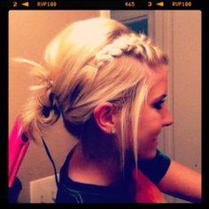 braided bangs messy updo