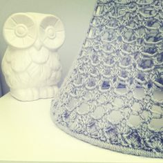 Lacy lampshade that I winged! Very please with it though and it casts such lovely shadows! #crochet
