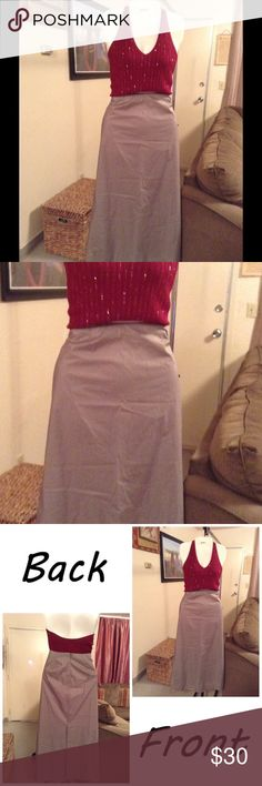 """J.Crew Skirt Skirt is made of 100% Cotton.  Size 10.  Color Gray.  Split up the back. Laying flat """"15.  Length """"38. Zips up back. This item is NOT new, It is used and in Good condition. Authentic and from a Smoke And Pet free home. All Offers through the offer button ONLY.  Ask any questions BEFORE purchase. Please use the Offer button, I WILL NOT negotiate in the comment section. Thank You😃 J. Crew Skirts"""