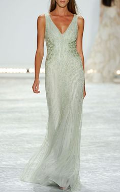 Mint Embroidered Tulle V-Neck Gown by Monique Lhuillier for Preorder on Moda Operandi