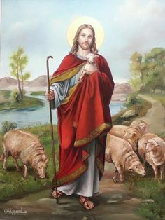 Jesus is the Good Shepherd! Pictures Of Jesus Christ, Religious Pictures, Religious Art, Christian Artwork, Christian Images, Jesus Shepherd, Christ The Good Shepherd, Jesus Pastor, Première Communion
