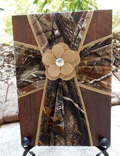 Camouflage Fabric Cross on Wood, Rustic Wall Decor, Camo Wedding, Camo Baby…