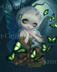 Absinthe Butterflies green fairy art print by by strangeling