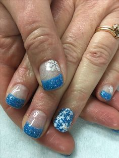 Winter Nails Glitter Blue French Stamped Snowflakes Gel Nails