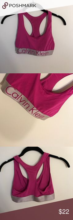 Calvin Klein sports bra Calvin Klein hot pink sports bra, silky finish. Almost new! Only wore for a photo shoot. You can't find this one anymore! Calvin Klein Intimates & Sleepwear Bras